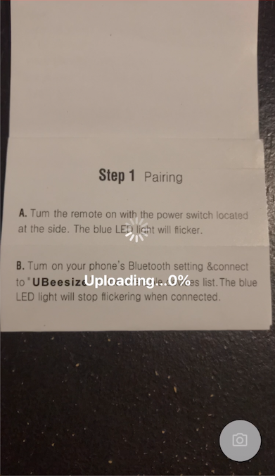 screen shot of starting picture upload