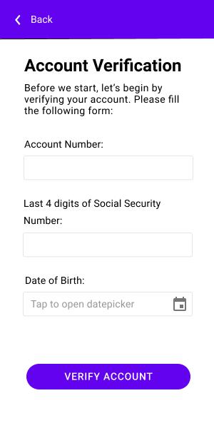 Screen - Bank Account Verification